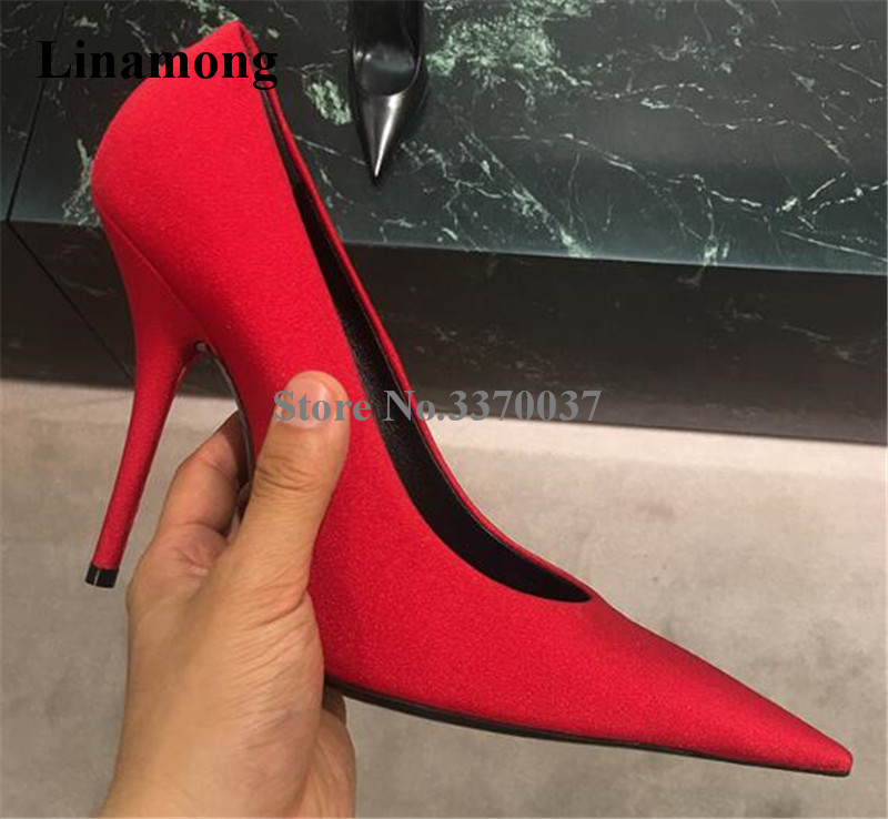 Brand Design Women Fashion Pointed Toe Satin Thin Heel Pumps Red Blue Purple Sexy High Heels Club Evening Shoes Dress Shoes