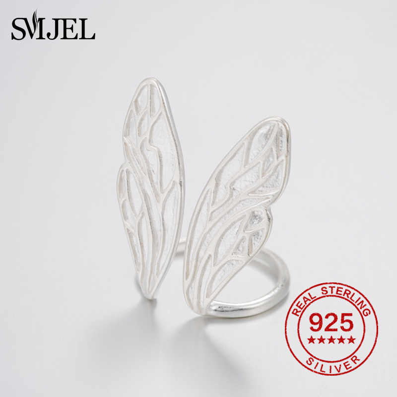 Smjel 100% 925 Sterling Silver Cincin Resizable Sayap Malaikat Cincin Fashion Korea Cincin untuk Wanita Cincin Cincin Ajustable
