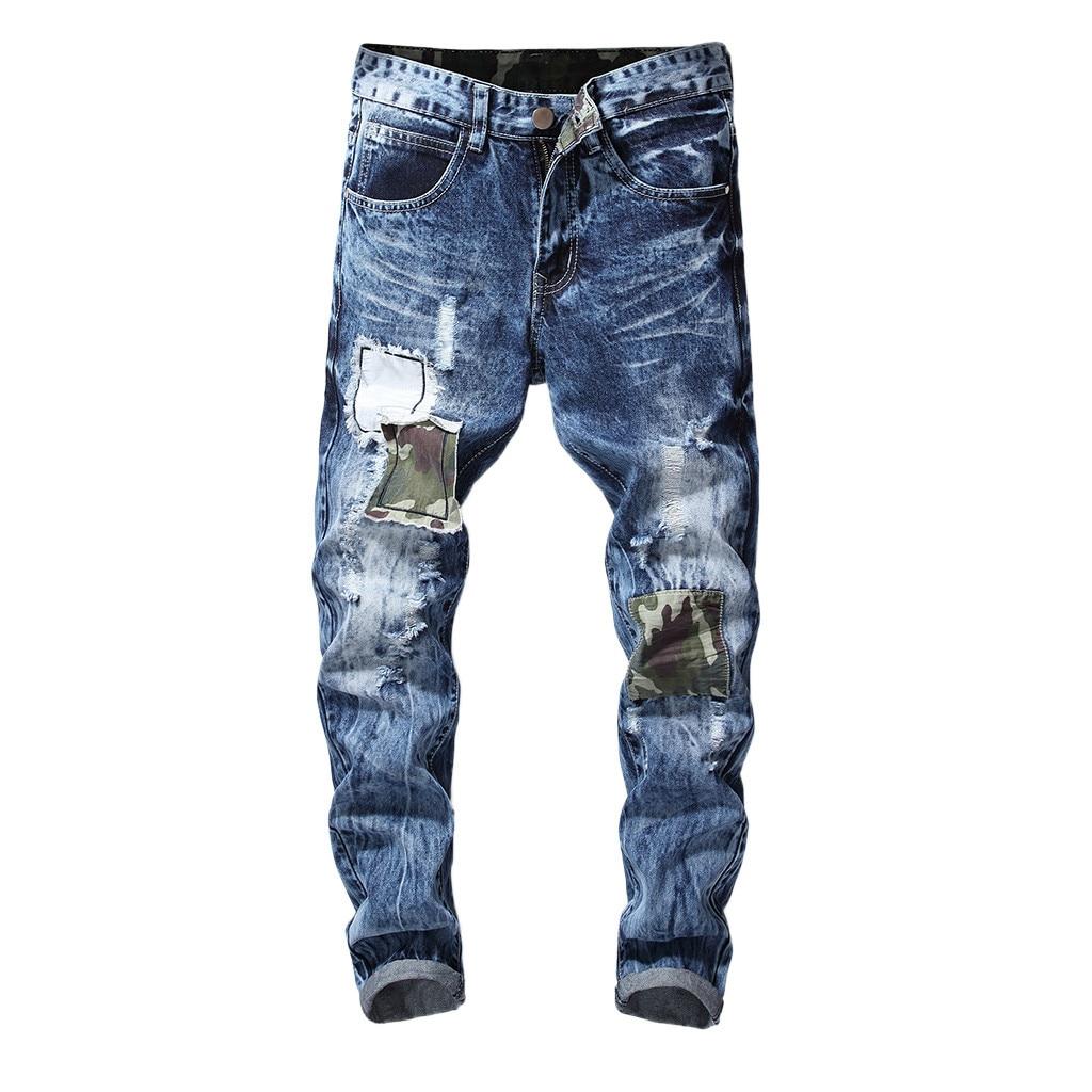 72eb53d3723 FeiTong джинсы для женщин брюки девочек для мужчин 2019 одежда эластичные  рваные джинсы мужские байкерские джинсы