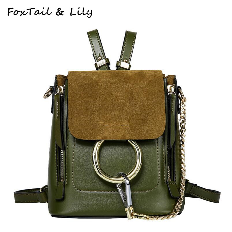 FoxTail & Lily Popular Metal Rings Mini Chain Shoulder Bag Women Leather Backpack Vintage Summer New School Backpacks for Girls
