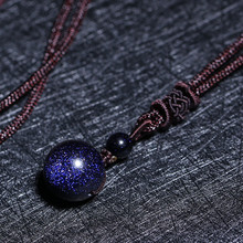 Drop Shipping Natural Stone Blue Sandstone Round Bead Ball Necklace Pendant Aventurine Obsidian Starry Sky Star Energy Gift