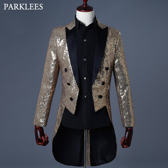 Shiny Gold Sequin Glitter Blazer Jacket Men Slim Fit Notched Lapel  MensTuxedo Suit Party Prom Nightclub Singer DJ Costumes Homme 3ce45d87efc4