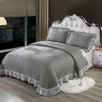 Luxury European Style 3D Gray White High Quality Comfortable Soft Cotton Thick Blanket Lace Bedspread Bed sheet pillowcases 3pcs