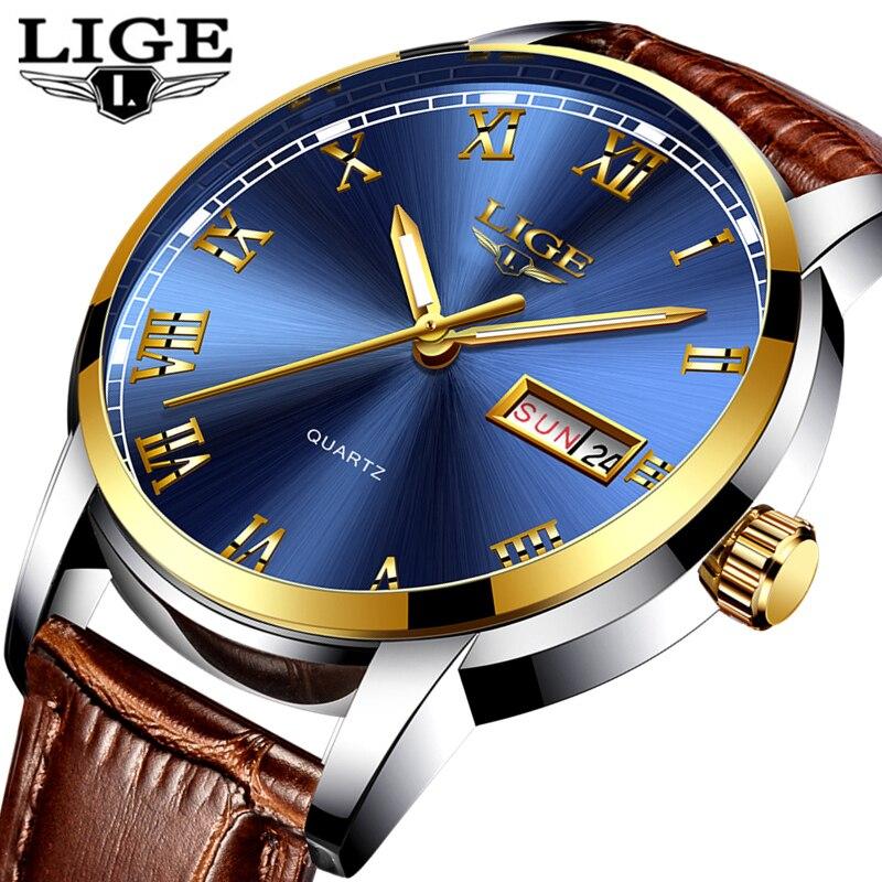 LIGE Mens Watches Top Brand Luxury Leather Casual Quartz Watch Men Army Military Sport Quartz watch