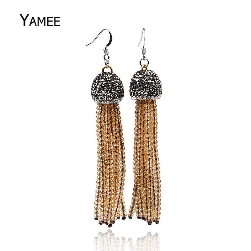 Personality Crystal Beads Long Tassel Earrings Rhinestone Jewelry Women Bohemian Ethnic Statement Vintage Dangle Beaded Earring