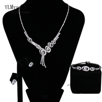 Cheap price wholesale 3pcs jewelry set for party Necklace Earrings Bracelet factory supplier Silver plate great jewelry sets