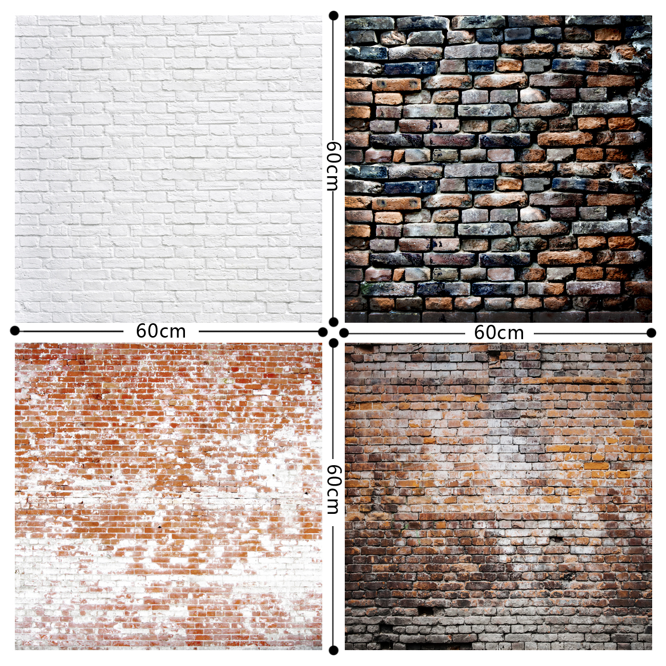HUAYI Brick Paper Backdrop Vinyl Backdrop Brick Wall Photography Backdrops Photo Props Background Brick 4 pairs 0.6x0.6m GY-019