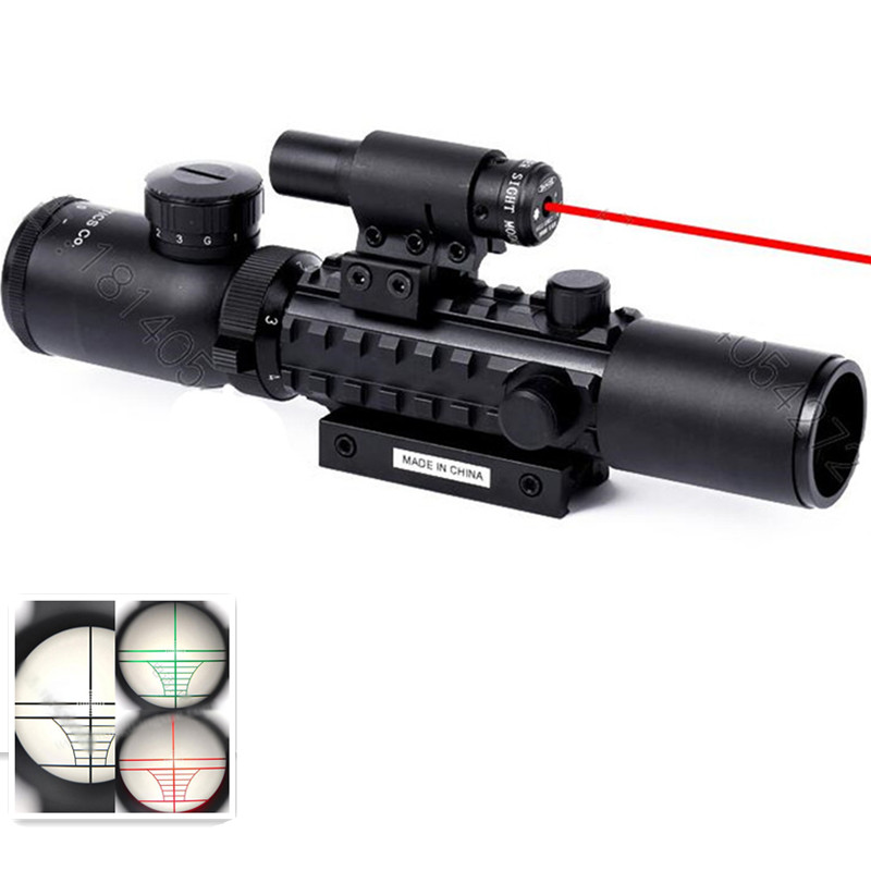 Hot sale 2 in 1 Tactical Rifle Scope with Red Laser Mil-dot w/ Rail Mounts Combo Airsoft Gun Sight For Hunting 3 10x42 red laser m9b tactical rifle scope red green mil dot reticle with side mounted red laser guaranteed 100%
