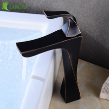 becola LANGYO Spray paint Bathroom mixer black basin faucet Cold water  washbasin tap
