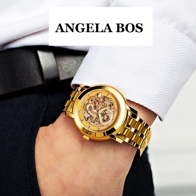 840bd6726 ANGELA BOS Gold Dress Watch for Men Dragon Carved Dial Automatic Mechanical  Waterproof Skeleton Stainless Steel Bracelet 9007