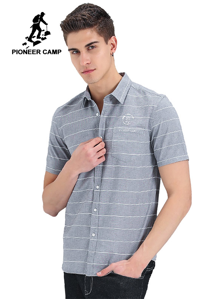 Pioneer camp gaya baru kemeja pendek pria merek pakaian fashion kemeja bergaris laki-laki kualitas atas 100% katun kemeja kasual ADC701121
