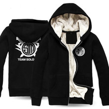 LOL Team TSM Cosplay Costume Black / Gray Thick Hoodie Coat(China)