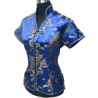 Hot Selling 2014 Zomer Vrouwelijke's Shirt Tops Satijn Tang Pak Vintage Ontwerp Blouse Bloem Sml XL XXL