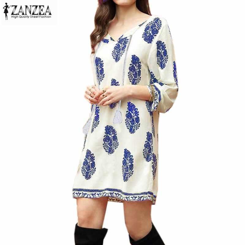 ZANZEA 2020 Summer Womens Floral 3/4 Sleeve 에스닉 레트로 레이스 업 V 넥 Tassel 루스 캐주얼 파티 쇼트 미니 드레스