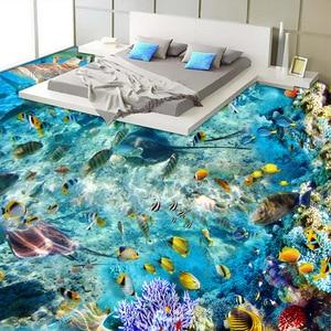 Image 3 - Custom Flooring Mural Wallpaper Undersea World Fish Coral Toilets Bathroom Bedroom 3D Floor Murals PVC Waterproof Self adhesive