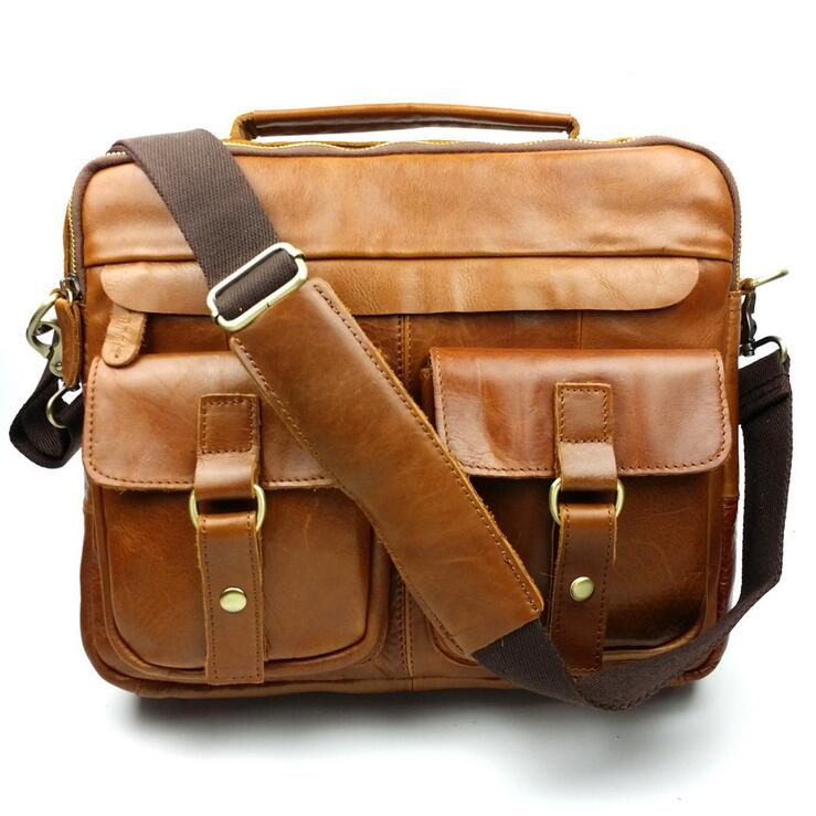 ФОТО Leather Men Handbag Men Crossbody Bags Wax oil skin shoulder bag retro men's bags