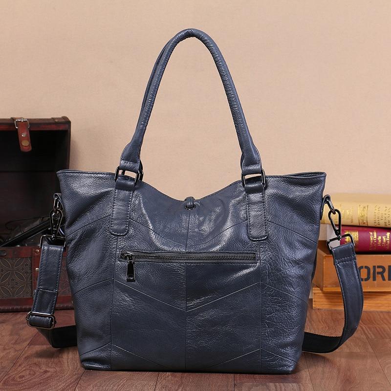 ผู้หญิงกระเป๋าถือความจุขนาดใหญ่ Casual Tote คุณภาพสูงกระเป๋าสะพายกระเป๋าสุภาพสตรี Crossbody กระเป๋า 100% แท้กระเป๋าหนัง-ใน กระเป๋าสะพายไหล่ จาก สัมภาระและกระเป๋า บน   2