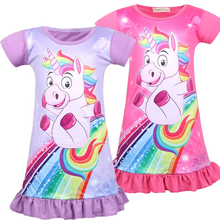 Pink Unicorn 2019 Summer New Childrens Princess Nightdress Wear Print Casual Home Dress