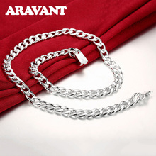 925 Jewelry Necklaces Fashion 10MM Sideways Chains Necklace For Women Men Silver Plated Jewelry