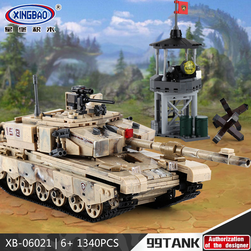 XINGBAO 06021 the 99 Military Tank Set Building Blocks Bricks Compatible Legoinglys Army WW2 soldier weapon Model Toys Boy Gifts free shipping super affordable military base 310pcs set plastics toy soldier sand table model army soldier boy christmas gifts