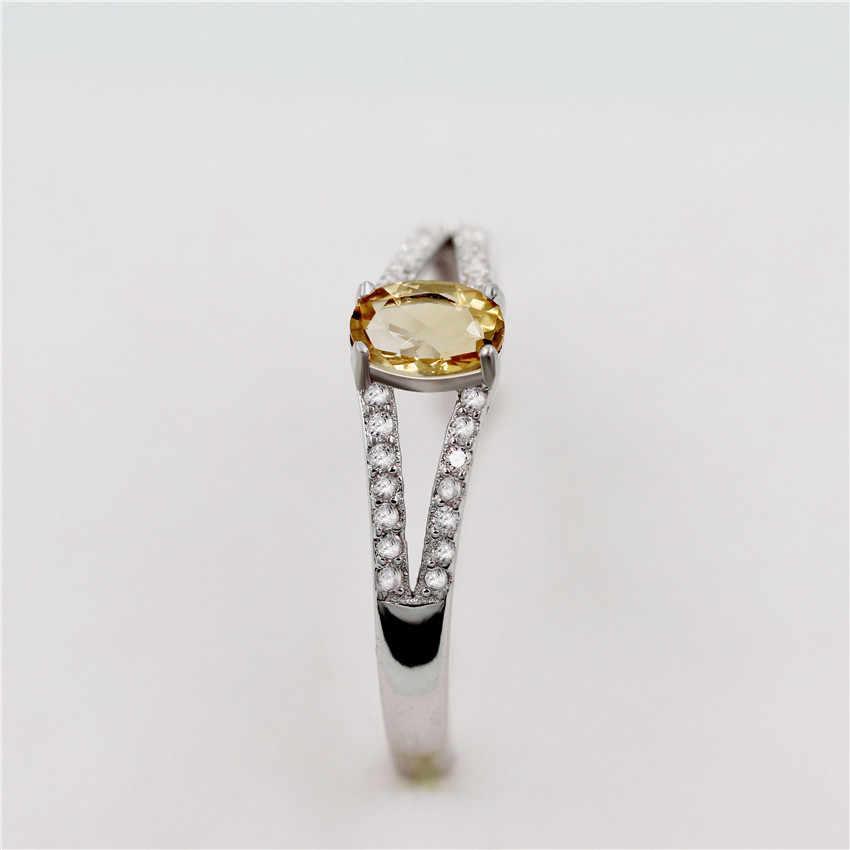 Almei 7 มม. ธรรมชาติ Citrine 925 เงินสเตอร์ลิงเครื่องประดับ Rhinestone งานแต่งงานแหวน Cz สำหรับผู้หญิงกล่อง CJ035