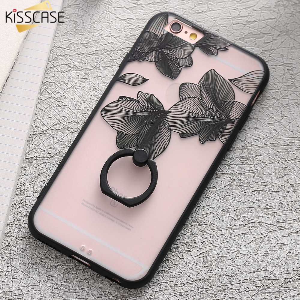 KISSCASE Lace Phone Case for iPhone 6 6S Ring Holder Back Cover Luxury Retro Relief Pattern PC Mobile Phone Accessories Conque