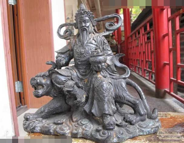 10 Тибет Народная храм Старый Бронзовый Бог богатства Деньги Будда Ездить на Тигра Медная Статуя украшения сада