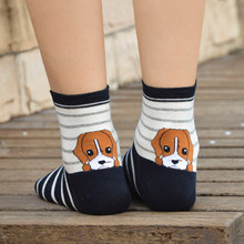 Hot Sale Causal Puppy Heel Socks Unisex Cartoon DogWomens Mens Autumn Cotton Fashion Striped Squares Tube Socks(China)