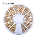 2017 New Arrive 1 Box AB Beige Color Metal Edge Glitter Nail Beads Studs Beauty Charm Nail Art Pearls DIY Decorations Wheel