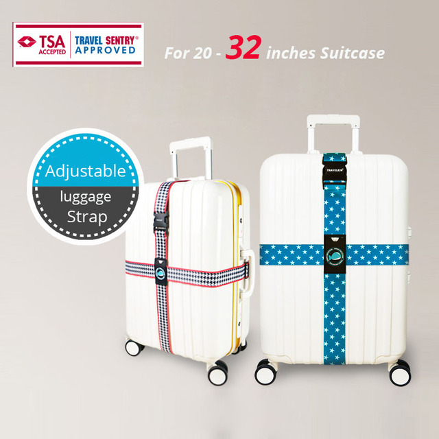 TSA Password Lock Colorful Luggage Strap Cross Design For 20-32'' Suitcase Adjustable Travel Accessories Suitcase Packing Belt