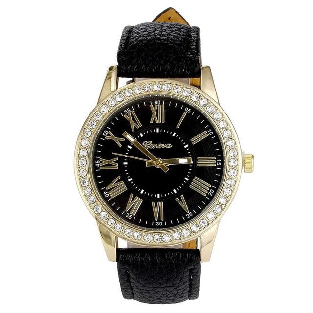 Women's Leather Band Roman Rhinestone Quartz Wrist Watch Watches Leather Rhinest