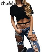 charMma 2017 Fashion Hole Ripped Jeans Women Cool Denim Pants Fishinets Vintage Girl Casual Female Slim
