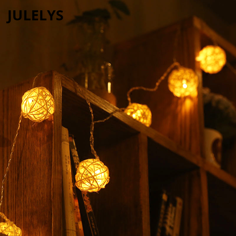 AA Battery Powered Garland LED Rattan Ball String Lights Thai Lanterns Christmas Lights Decorations For Holiday Party Wedding