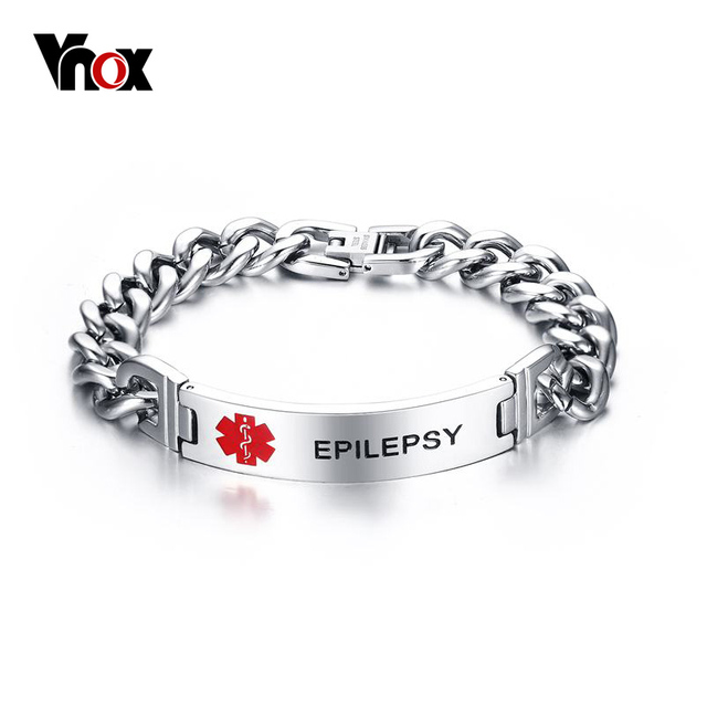 Vnox Epilepsy Medical Bracelet Emergency Custom Engraved Alert Id Men Jewelry 21cm