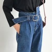 Boyfriend Jeans For Women Fashion Loose Women Jeans With High Waist Personality Asymmetrical Belt Vintage Denim Pants