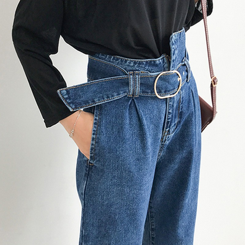 Fashion Vintage Jeans Woman 2019 New Casual Korean Women Jeans With Belt Irregular High Waist Jeans Spring Autumn Harem Pants