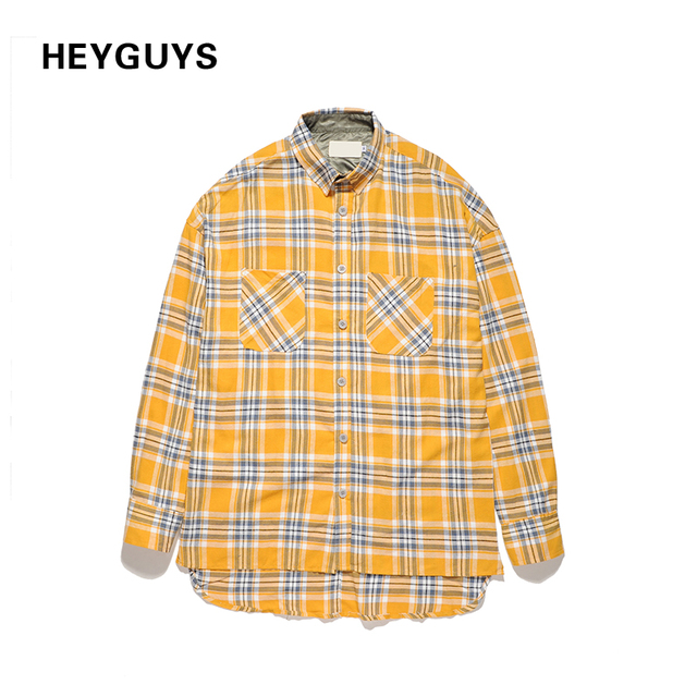 HEYGUYS 2017 HIP hop giallo camicie tinta unita fashion street wear magliette  hip hop uomo di af2218b3be2