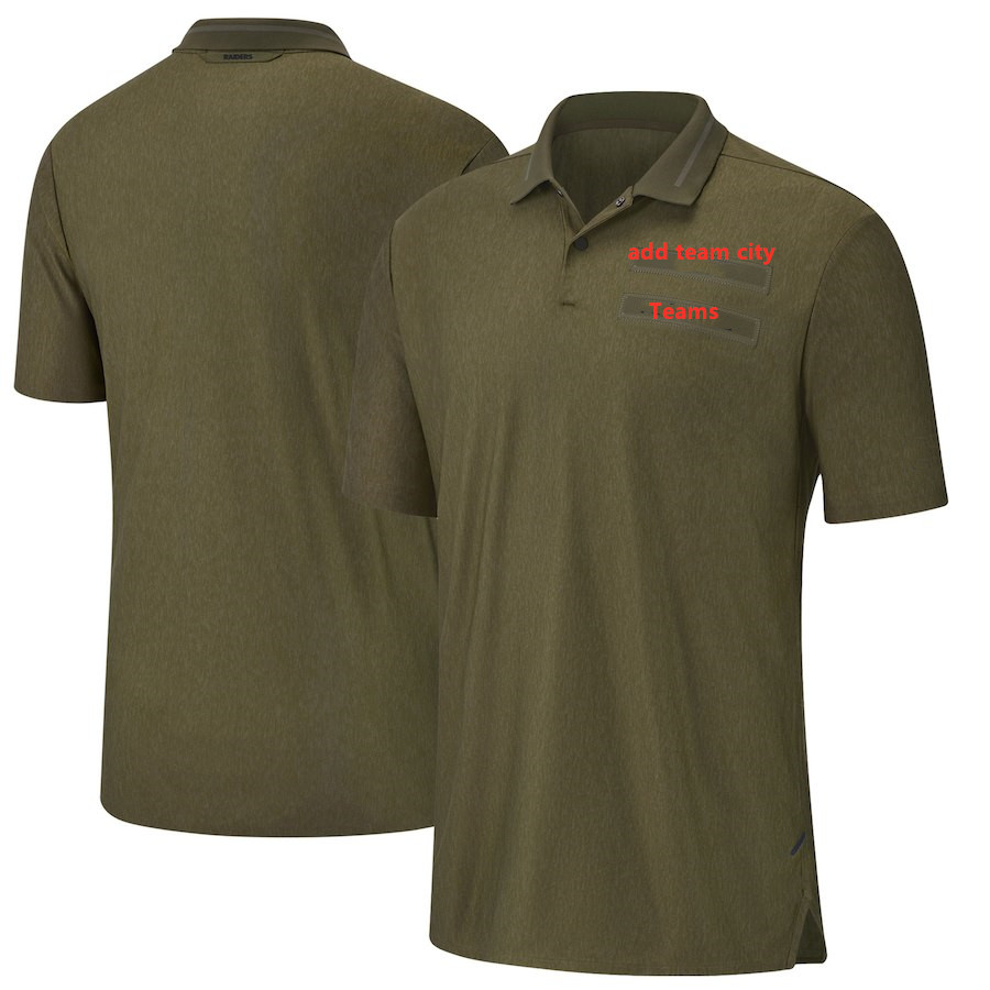Custom Salute to Service Sideline   Polo   Olive Men's Green Shirt Size S-4XL