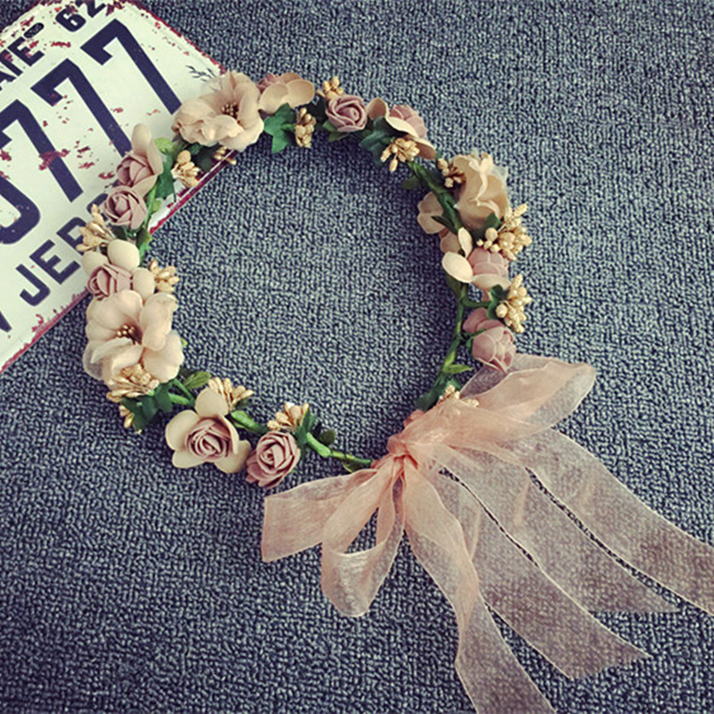 Bohemian Style Woman Hair Flower Crown Wedding Party Vacation Hair Wreath Garland Girls Flower Headband Brown Hair Accessories