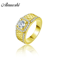 AINUOSHI Real Gold Vintage Men Ring 14K Solid Yellow Gold Sona Diamond Engagement Wedding Men's Jewelry Wide Braid Band Men Ring