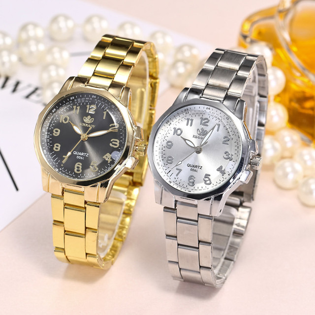 Fashion 2019 Women Fashion Stainless Steel Band Analog Quartz Round Wrist Watch