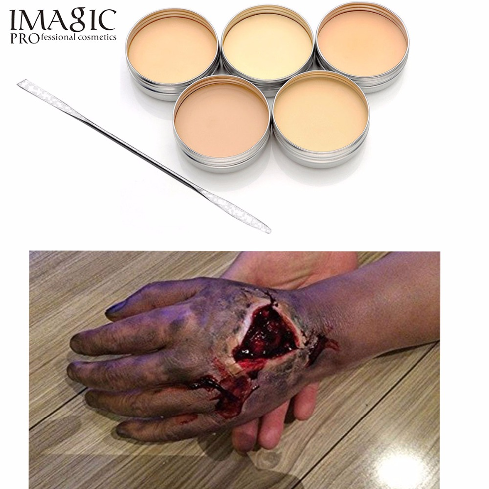 где купить IMAGIC Halloween Makeup Special Effects Scars wax Makeup Modeling Fake Special Makeup Wax & Spatula Halloween Tool дешево