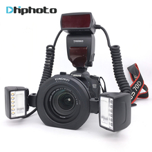 Yongnuo YN24EX E Twin Lite Macro TTL Speedlite de Destello para Canon Cámaras con Adaptador Dual 2 unids Cabezal del Flash + 4 unids anillos