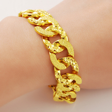 Envío Libre Verdadero 24 K Yellow Gold Plated 14mm Ancho de Malla de Cadena de Los Hombres Brazalete de Joyería de Alta Calidad para Mesn 24K-B081