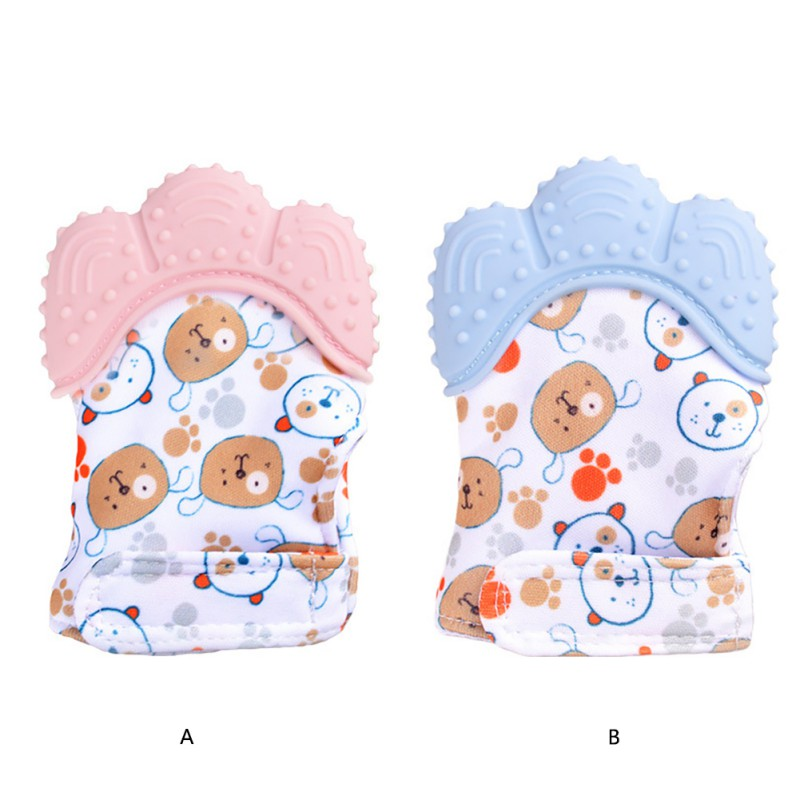 Baby Silicone Teether Mitts Mitten Glove Teething Newborn Chewable Nursing Mittens Teether Natural Stop Sucking Thumb Toy