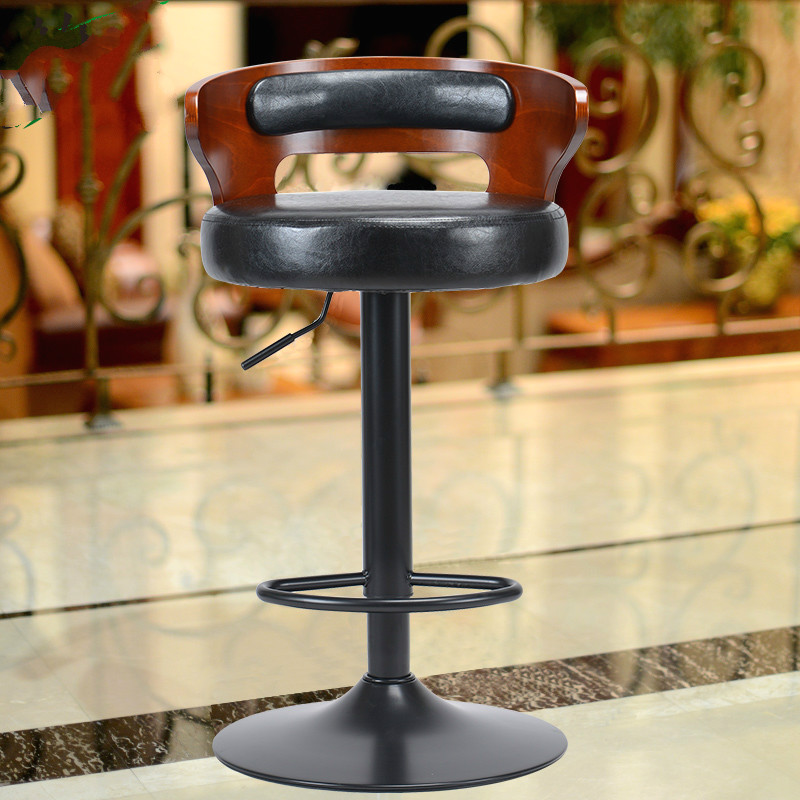Simple Metal & Wooden Bar Chair Lifting Swivel Bar Stool With Footrest Natural Retro Design Adjustable Height Reception Chair