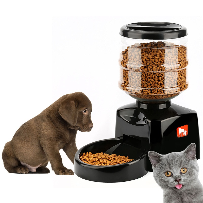 new 5 5 liter automatic dog feeder meal large automatic pet dog cat feeder electronic portion. Black Bedroom Furniture Sets. Home Design Ideas