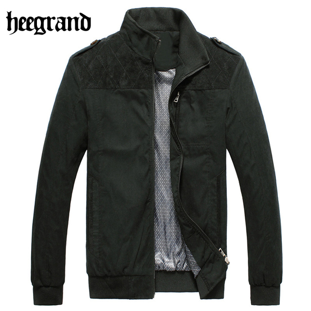 HEE GRAND 2017 New Men's Business Casual Jacket Collar Male Fashion Solid Color Men's Cardigan Jackets High Quality Coat MWJ1754
