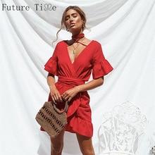 14db42cef6 Przyszłość razem lato sukienka czerwony w stylu Vintage Ruffles krzyż sukienka  kobiety dekolt w kształcie litery v półdługi rozs.