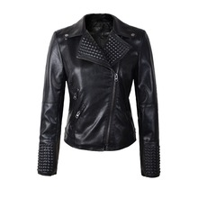 2016 New Fashion spring Autumn Women Faux Soft Leather Jackets Pu Black Blazer Zippers  Motorcycle Coat slim rivet  high quality